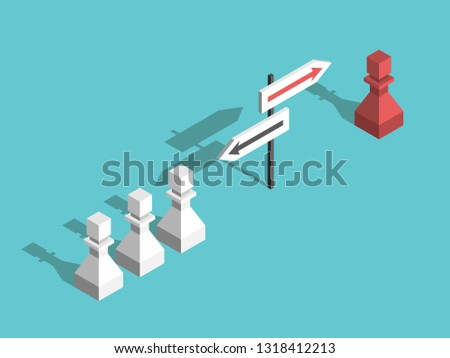 Isometric red unique chess pawn choosing its own different direction and many white ones. Uniqueness, courage and will power concept. Flat design