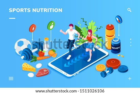 Isometric screen for sport or healthy nutrition application. Man and woman jogging on smartphone near vegetables, whey protein, dumbbell. Online training, coach, food tracking, weight loss, health app