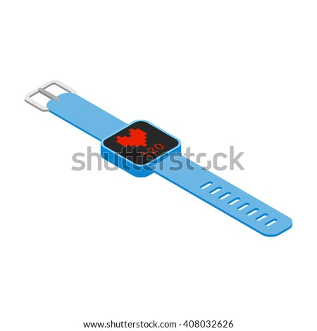 Isometric smart bracelet with heart rate monitor, blue smart watch with fitness application isolated on white background