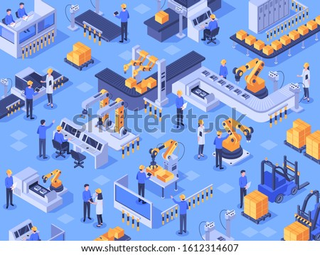Isometric smart industrial factory. Automated production line, automation industry and factories engineer workers. Industriyal manufacturing teamwork innovation technology  illustration
