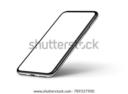 Isometric smartphones mockup front and back side one above the other. New modern black frameless smartphones with blank white screen and back side. Isolated on white background. 3D illustration.