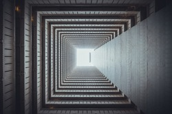Isometric square bottom view from inside building. Architecture art, design abstract background, or construction industry concept