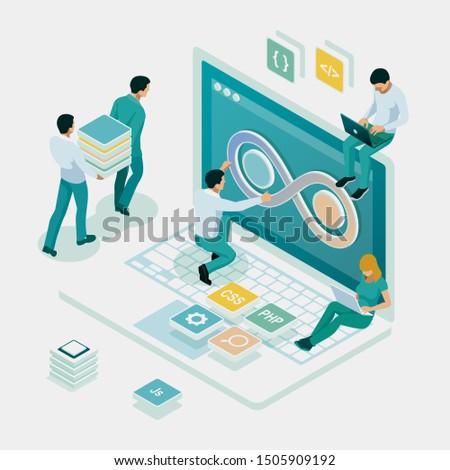 Isometric technology process of Software development. Web development and coding. Cross platform development website.