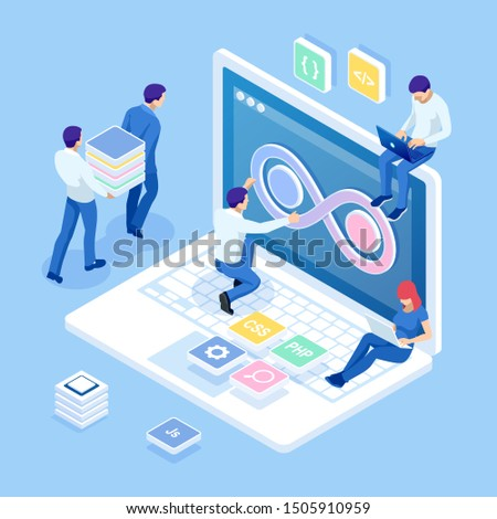 Isometric technology process of Software development. Web development and coding. Cross platform development website.