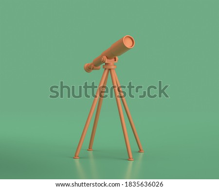 Isometric telescope, camping objects and scenes, monochrome yellow camping equipment on green background, 3D Rendering, hunting and camping