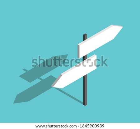 Isometric two directions empty blank road sign on turquoise blue. Way, choice, uncertainty, guidance and decision concept. Flat design. 3d illustration. Raster copy