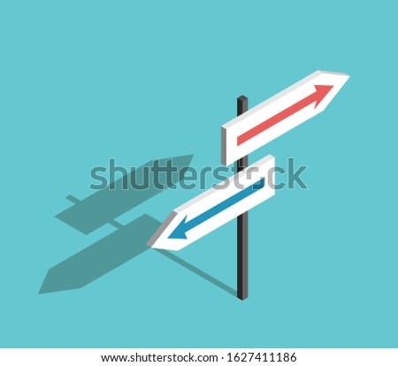 Isometric two directions sign with arrows on turquoise blue background. Choice, uncertainty, guidance and decision concept. Flat design. 3d illustration. Raster copy
