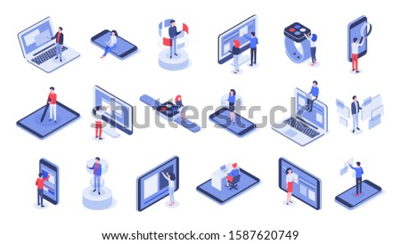 Isometric user interface. Online office, device interactions and touch mobile interfaces. Message sharing social app test drawing, ui seo process testing. Isolated 3d icons  set