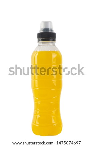 Isotonic energy drink. Bottle with yellow transparent liquid, sport beverage isolated on a white background. It usually contains salt and sugar and maintains optimal hydration