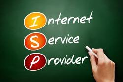 ISP - Internet Service Provider, acronym technology concept on blackboard