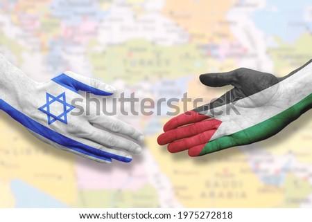 Israel and Palestine - Flag handshake symbolizing peace or agreement Сток-фото ©