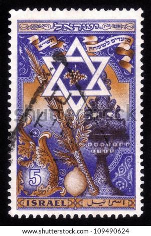 ISRAEL - CIRCA 1950: A stamp printed in Israel, shows attributes of the Jewish holiday of Sukkot, Israel, series, circa 1950