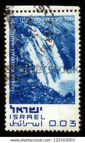 "ISRAEL - CIRCA 1970: A stamp printed in Israel, shows Tahana Waterfall - Nahal Iylon, series ""Nature Reserves of Israel"" ; series, circa 1970"