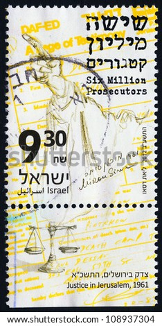 "ISRAEL - CIRCA 2012: An used Israeli postage stamp depicting the accusing finger of Gideon Hausser, the Attorney General of Israel with inscription ""Six Million Prosecutors""; series, circa 2012"