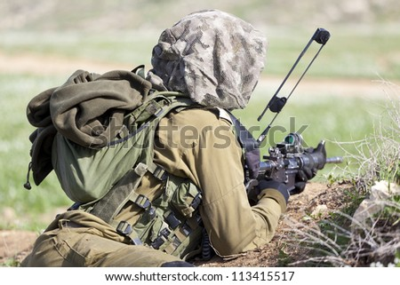 Israel Defense Forces - Paratroopers brigade during training - stock photo