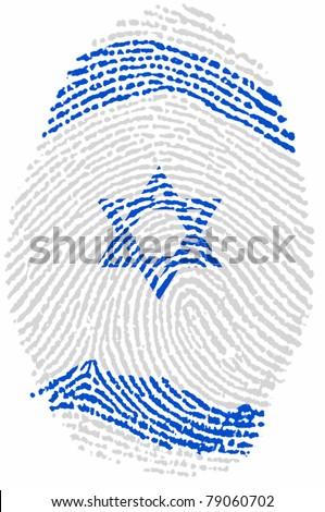 Israel fingerprint passport  flag on white paper