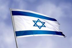 Israel flag isolated on sky background. close up waving flag of Israel. flag symbols of Israel.