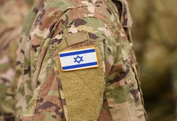 Israel flag on soldiers arm (collage).