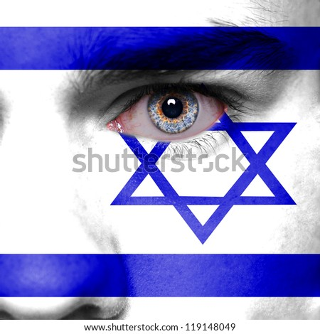 Israel flag painted on face