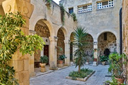 Israel, Jerusalem District, Ein Karem. Church of the Visitation courtyard.