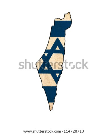 Israel map on Israel flag drawing ,grunge and retro flag series