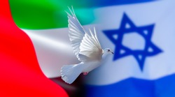 Israel, United Arab Emirates, UAE flag with dove of peace, peace agreement 2020