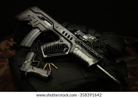 Israeli assault rifles with handgun and ammunition