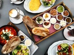 Israeli breakfast table