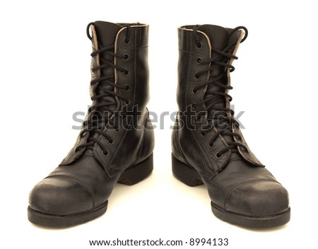 Israeli combat boots, isolated