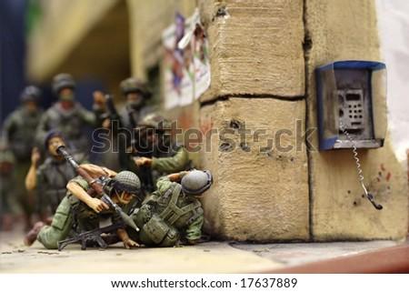 Israeli combat team in anti-terrorist action  - plastic model 1:72 scale - extremely closeup