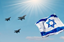 Israeli flag and modern militaristic fighters, blue sky background, Concept of Independence Day