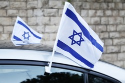 israeli flag independence day brick wall car window