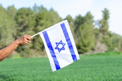 Israeli flag, man hand, blue sky, wheat meadow, trees.Memorial day-Yom Hazikaron, Patriotic holiday  Independence day Israel - Yom Ha'atzmaut concept.