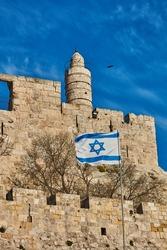 Israeli flag near the old city of Jerusalem