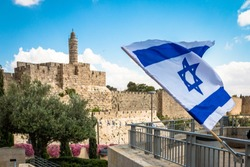 Israeli flag with David tower , Jerusalem , Israel