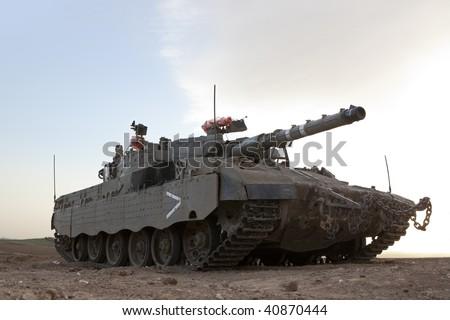 Israeli - Palestinian conflict. Israeli military operation Cast Lead. Israeli tank Merkava ( Mercava)  Mk 4 on border with Gaza strip