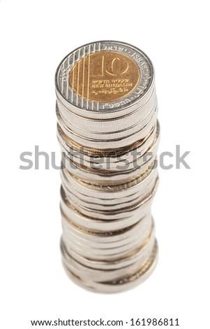 Israeli Shekel coin stack, isolated on white
