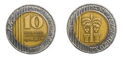 Israeli 10 Shekels coins isolated on white background