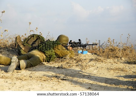 Israeli sniper in a battalion maneuver as part of regular training the army have.