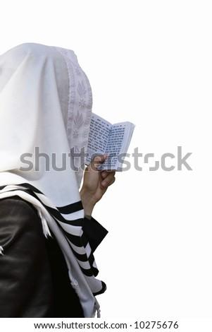 Israelite, who reads torah in western wall in Jerusalem(isolated).
