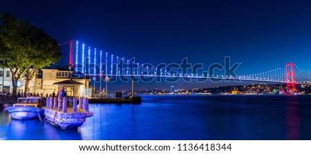 Istanbul Bosphorus Bridge at night. 15th July Martyrs Bridge. Istanbul / Turkey.
