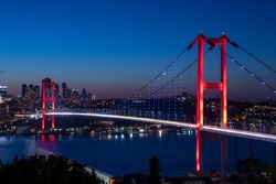 Istanbul Bosphorus Bridge at night. 15th July Martyrs Bridge (15 Temmuz Sehitler Koprusu). Istanbul, Turkey.