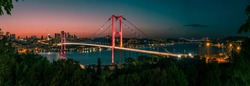 Istanbul Bosphorus panoramic photo. Istanbul landscape beautiful sunset with clouds Ortakoy Mosque, Bosphorus Bridge, Fatih Sultan Mehmet Bridge Istanbul Turkey.Best touristic destination of Istanbul