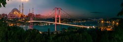 Istanbul Bosphorus panoramic photo. Istanbul landscape beautiful sunset with clouds Suleymaniye Mosque double exposure, Bosphorus Bridge,  Istanbul Turkey.Best touristic destination of Istanbul