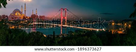 Istanbul Bosphorus panoramic photo. Istanbul landscape beautiful sunset with clouds Suleymaniye Mosque double exposure, Bosphorus Bridge,  Istanbul Turkey.Best touristic destination of Istanbul Stock foto ©