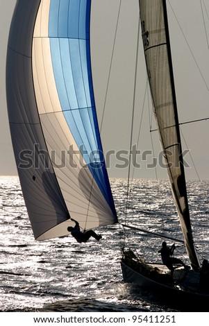 Istanbul-Bozcaada Yacht Race in Marmara Sea, Turkey.