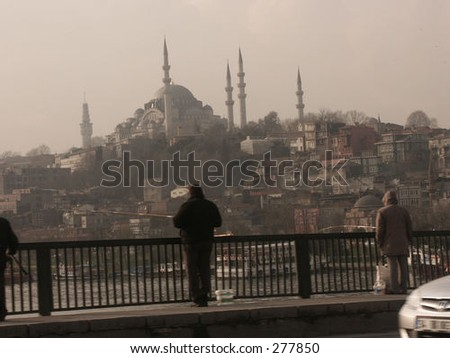 """Istanbul center, fishing from the bridge in """"the Golden Horn"""""""