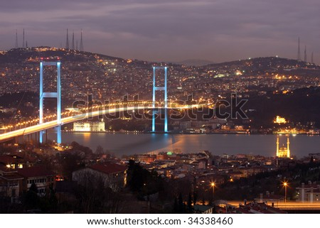Istanbul city lights and bosphorus bridge