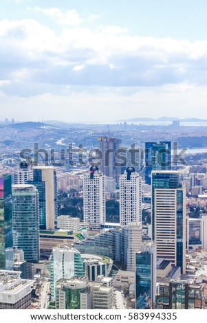Istanbul City view from largest skyscraper Sapphire Tower, Turkey. #583994335