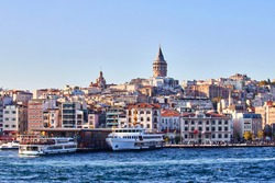 Istanbul cityscape in Turkey with Galata Kulesi Tower. Ancient Turkish famouslandmark in Beyoglu district, European side of the city. Architecture of the former Constantinople